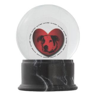 Luv-A-Bull American Bulldog Pit Bull Heart Snow Globe