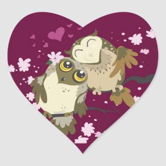 Luv Birds~owl heart stickers