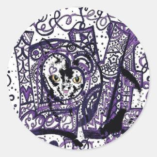 Luv Cat, custom cat design Classic Round Sticker