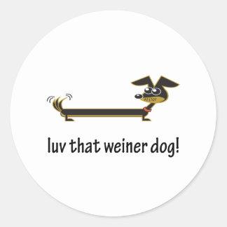 Luv ese perro de Weiner Pegatinas Redondas