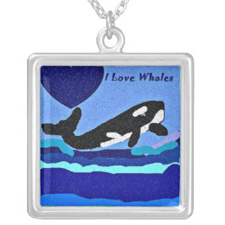 Luv heart killer whales necklace