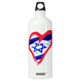 Luv Israel Heart Aluminum Water Bottle