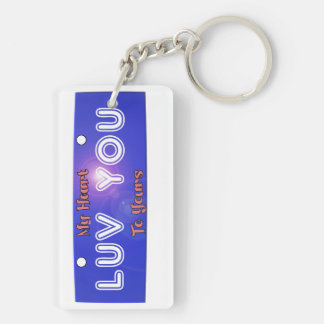 Luv, Love You, My Heart to Yours License Plate Keychain
