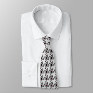 Luv Machine Robot Houndstooth Pattern Neck Tie