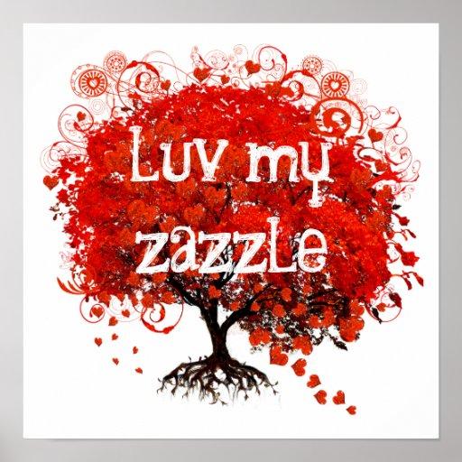 Luv mi zazzle - el árbol rojo con los corazones sa impresiones
