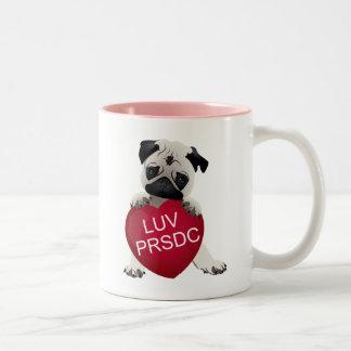 LUV PRSDC Pug Rescue of San Diego Co. Valentines Two-Tone Coffee Mug