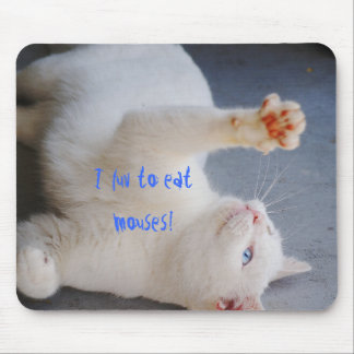 Luv to eat mouses, white cat, green & blue eye mouse pad