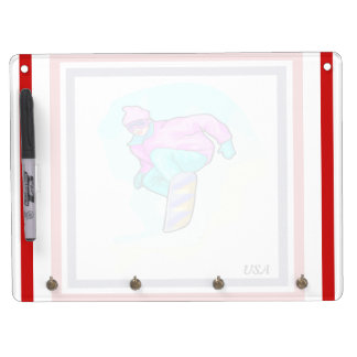 Luv to Snowboard - Dry Erase Board With Keychain Holder