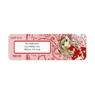 LUV U 2 Pieces  Return Address Label