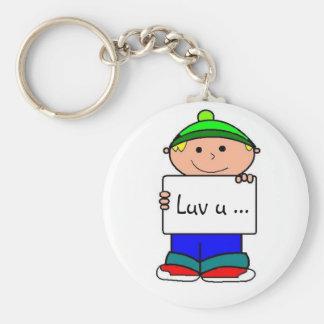 Luv u... basic round button keychain