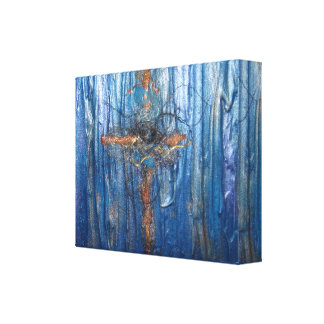 "Luv U ❤ Luv Me Copper Cross 10""x8"" Wrapped Canvas"