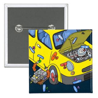 Luv U ❤️ Luv Me Crazy Cars Square Badge Pinback Button