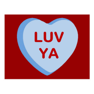 Luv Ya Conversation Candy Heart Gifts and Apparel Postcard