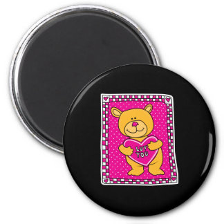 luv you teddy bear 2 inch round magnet