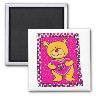 luv you teddy bear 2 inch square magnet