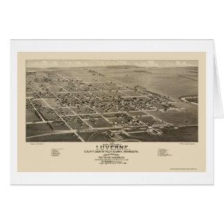 Luverne, mapa panorámico del manganeso - 1883 tarjeta de felicitación