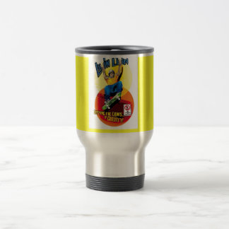 Luvin Livin Skater On Yellow Tinted Steel Travel M Travel Mug