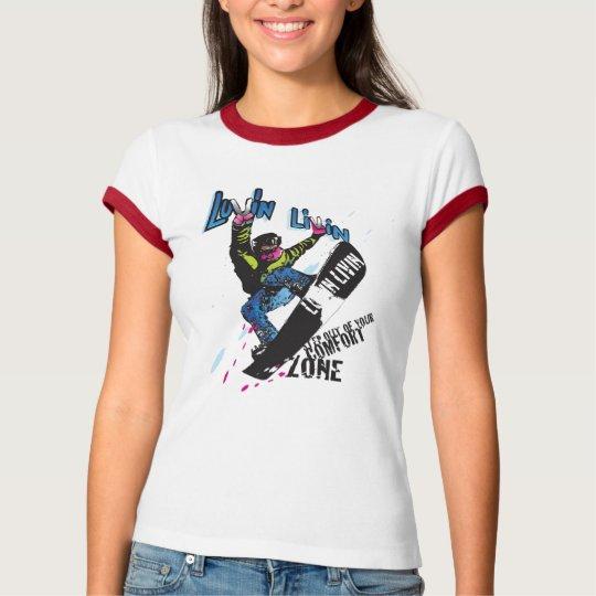 Luvin Livin Snow Boarde Graphic Ladies Ringer Tee