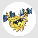 Luvin Livin Sun Graphic Round Sticker