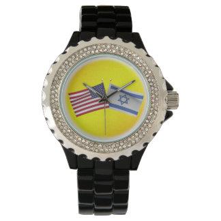 LuvIsrael Estados Unidos y bandera de Israel Reloj De Mano
