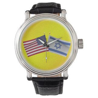 LuvIsrael Estados Unidos y bandera de Israel Relojes De Mano