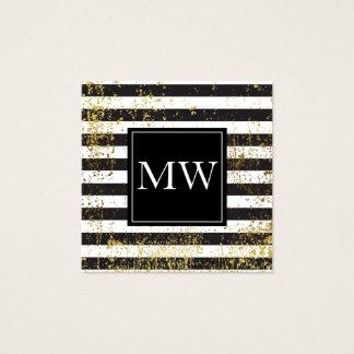 Lux Gold Grunge Monogram Black White Stripes Square Business Card