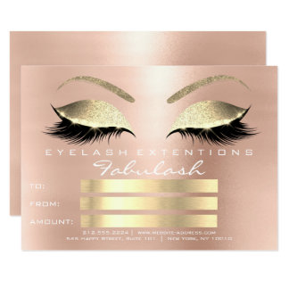 Lux Lashes Pink Rose Gold Makeup Certificate Gift Card