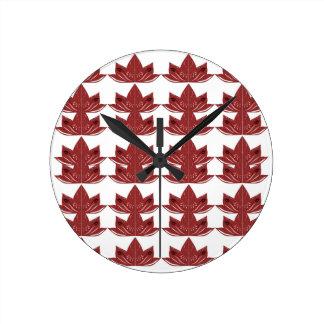 LUX. Vintage mandalas red Round Clock