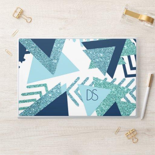 Luxe 90s Abstract | Turquoise Navy Aqua Monogram HP Laptop Skin