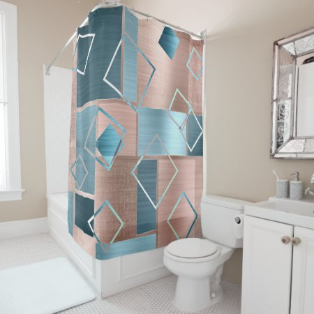 Luxe Abstract   Blush Rose Gold and Teal Geometric Shower Curtain