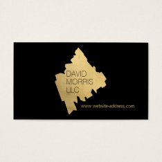 Luxe Abstract Gold Painted Designer Logo On Black Business Card at Zazzle