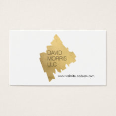 Luxe Abstract Gold Painted Designer Logo On White Business Card at Zazzle