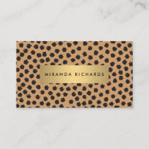 Luxe Animal Print Confetti Dots with Gold Bar Business Card