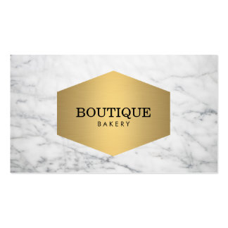 Luxe Bakery Gold Emblem on White Marble Double-Sided Standard Business Cards (Pack Of 100)