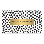 Luxe Black Confetti Dots II with Gold Bar Double-Sided Standard Business Cards (Pack Of 100)