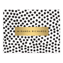 Luxe Black Confetti Dots II with Gold Bar Postcard