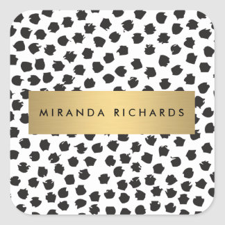Luxe Black Confetti Dots II with Gold Bar Stickers