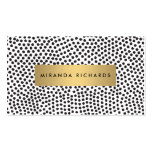 Luxe Black Confetti Dots with Gold Bar Business Card