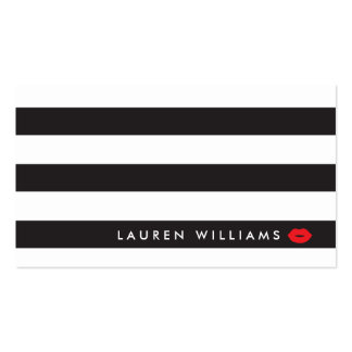 Luxe Black/White Stripes Red Lips Makeup Artist Double-Sided Standard Business Cards (Pack Of 100)