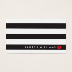 Luxe Black/White Stripes Red Lips Makeup Artist Business Card at Zazzle
