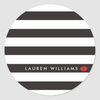 Luxe Black/White Stripes Red Lips Makeup Artist Classic Round Sticker