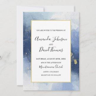 Elegant Navy Blue Wedding Invitations Summer 2021