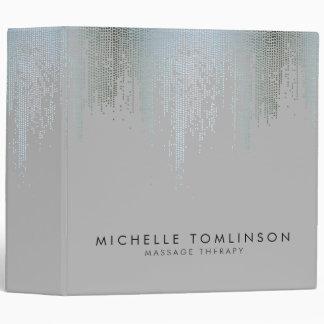 Luxe Blue Silver Confetti Rain Pattern 3 Ring Binder