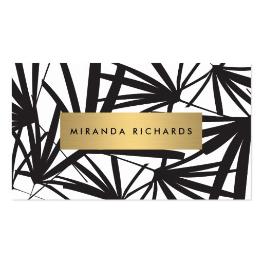 Luxe Bold Black and White Palm Leaves Double-sided Standard Business Cards (pack Of 100)