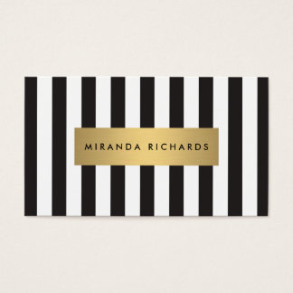 Luxe Bold Black and White Stripes with Gold Bar Business Card