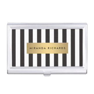 Luxe Bold Black and White Stripes with Gold Bar Business Card Case