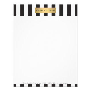 Luxe Bold Black And White Stripes With Gold Bar Letterhead at Zazzle