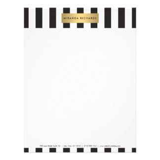 Luxe Bold Black and White Stripes with Gold Bar Letterhead
