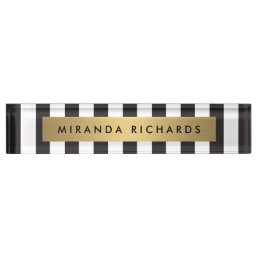 Luxe Bold Black and White Stripes with Gold Bar Name Plate
