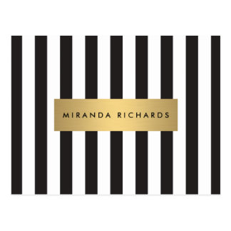 Luxe Bold Black and White Stripes with Gold Bar Postcard